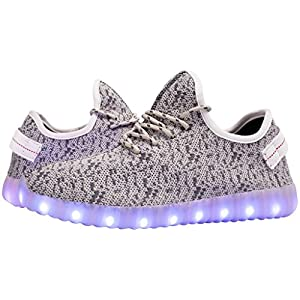 Tokee Unisex Led Light Up Shoes USB Cable Charging Luminous Sneakers Size: 7 D(M) US, Color: Grey
