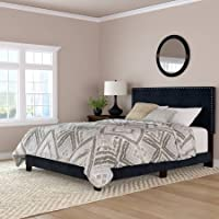 Mainstays Fully Upholstered Velvet Nailhead Queen Size Wood Bed Frame (Navy Blue)