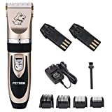 PETBON Rechargeable Cordless Pets Electric Hair Clippers Low Noise Dogs Cats Grooming Trimming Tool Kits with Comb Guides for Small - Medium - Large Dogs Cats (Gold-black)…