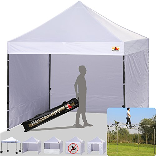 ABCCANOPY 10 x 10 Ez Pop up Canopy Tent Commercial Instant Canopy Gazebos with 6 Removable Side walls and Roller Bag, Bonus 4 Weight Bag (White)