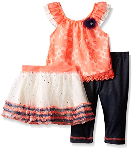 Little Lass Baby Girls' 3 Piece Tutu Set Daisy Mesh, Coral, 6-9 Months Skirt Set Daisy