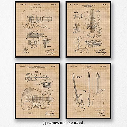Original Fender Guitar Patent Poster Prints, Set of 4 (8x10) Unframed Photos, Wall Art Decor Gifts Under 20 for Home, Office, Man Cave, College Student, Teacher, Musician, Band, Rock & Roll Fan