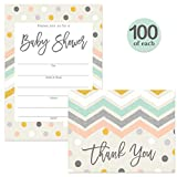 Baby Shower Invitations & Matching Thank You Cards ( 100 of Each ) Pastel Set with Envelopes Boy Girl Neutral Large Gathering Party Fill-In Guest Invites & Folded Thank You Notes Best Value Combo