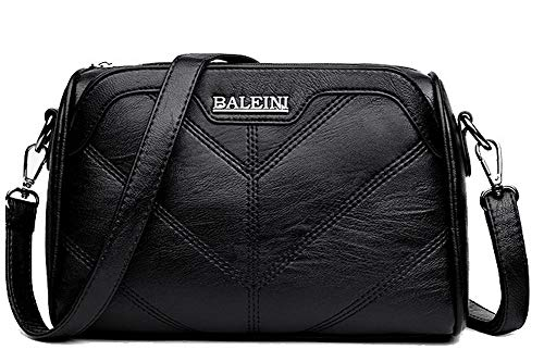 Casual Crossbody GMDBB181675 Women's PU Bags AgooLar Style Black Satchel Bags 1Un5YwUq7x