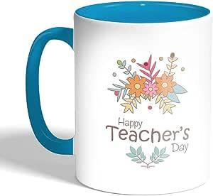 كوب سيراميك للقهوة بطبعة عيد معلم سعيد، لون تركواز