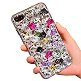 Bling Diamond Case for Huawei Honor View 10,Aearl 3D Homemade Luxury Sparkle Crystal Rhinestone Shiny Glitter Full Clear Stones Back Phone Cover with Screen Protector for Huawei Honor V10-Colorful