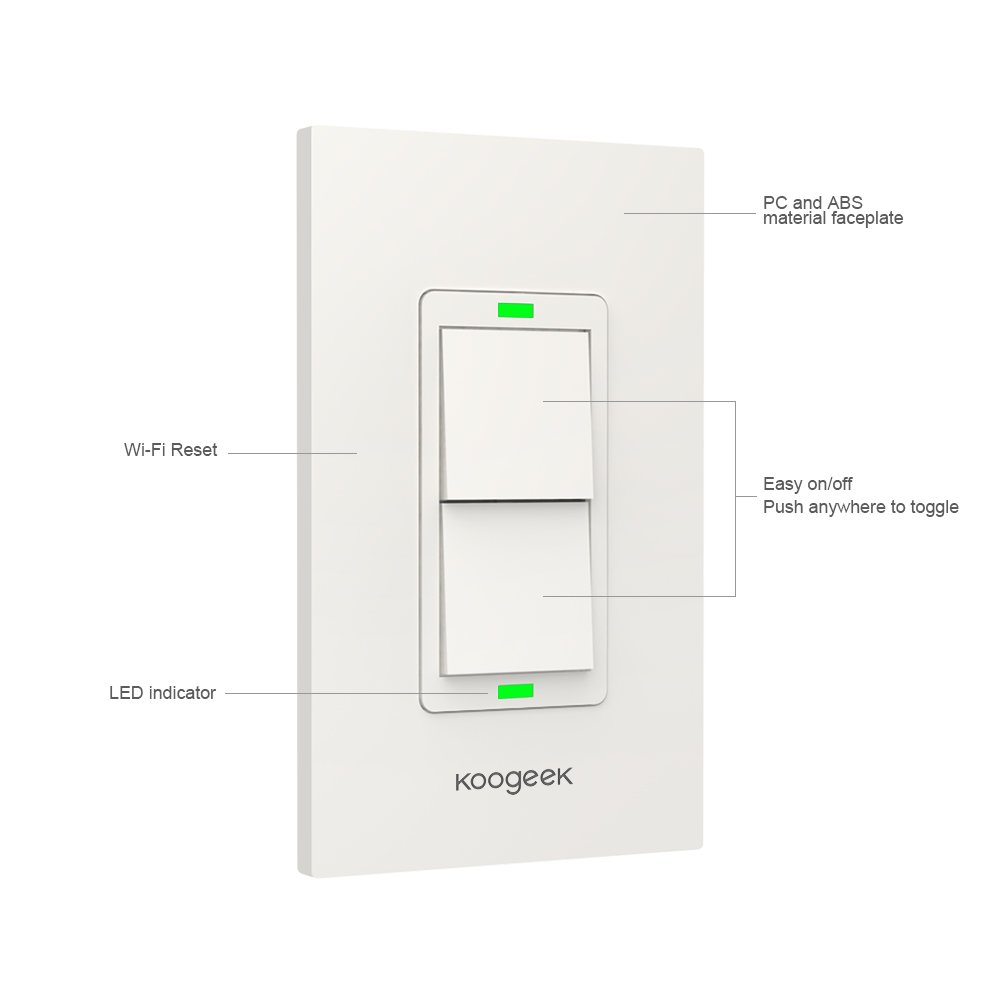 Koogeek Smart Wifi Light Switch Two Gang For Apple Homekit With Siri 3 Way Wiring Diagram Basic Circuit Breaker Sizing Iphone Remote Control On 24ghz Network No Hub Required Single Pole Amazon