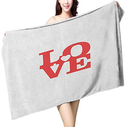 Sports Towel Love Valentines Day Design Romance Themed Vintage Wedding Inspirations Typographic Retro W31 xL63 Suitable for bathrooms, Beaches, Parties ()