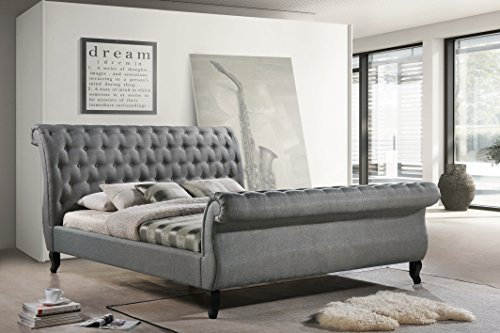 LuXeo Nottingham Tufted Sleigh Upholstered Platform Sleigh Bed, King, Gray