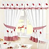 Embroidered Floral Gingham Checked Poppies Pencil Pleat Kitchen Curtains and Tiebacks, Red, 46 x 48-Inch