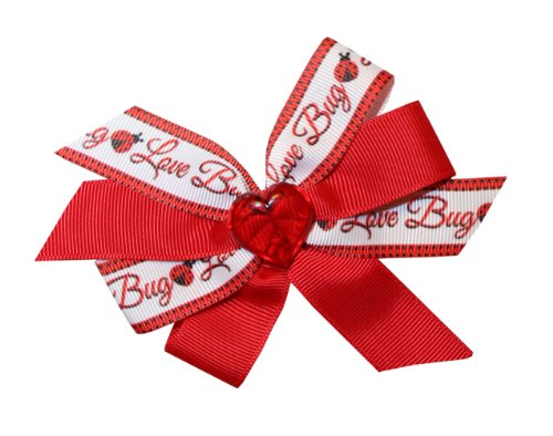 Webb Direct 2U Girls Heart Love Bug Valentines Hair Bow on F