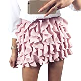 YUNY Women Sexy High-Waisted Tassel Edge Stylish Solid Color Skirt Pink XS