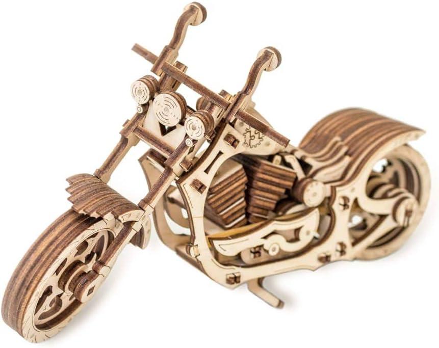 EWA Eco-Wood-Art Moto 3D m/écanique en Bois-Puzzle pour Adultes et Adolescents-Assemblage sans colle-152 pi/èces Cruiser Naturel