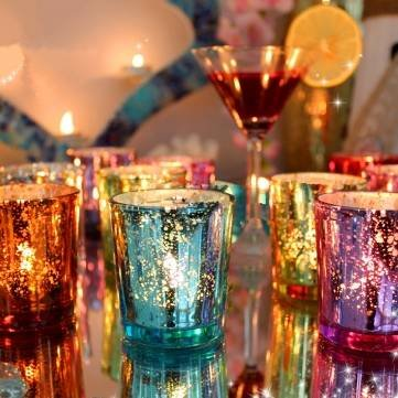 Colorful Glass Cup Candlestick Candle Holder Candelabra Romantic Home Wedding Decor Gift^.