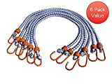 [6 Pack] 32-inch Bungee Cords - Extra Strength - Extra Thick 1/2 inch diameter - Coated Hooks
