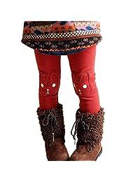Kids Warm and Cute Rabbit Printed Fleece Sweatpants