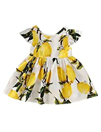 SUPEYA Toddler Baby Girls Lemon Print Dress Backless Sundress Summer Clothes