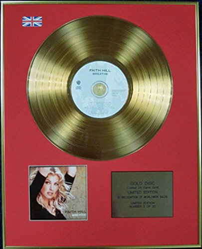 FAITH HILL - Ltd Edition CD 24 Carat Coated Gold Disc - BREATHE by CenturyMusic