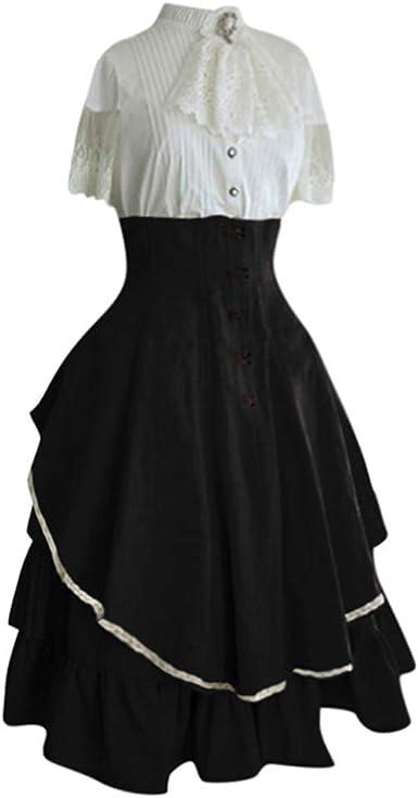MMcloud Disfraz Medieval Campesina Mujer Vestido de Corte Medieval ...