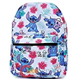 Disney Lilo and Stitch White Allover Print 16'' Girls Large School Backpack-