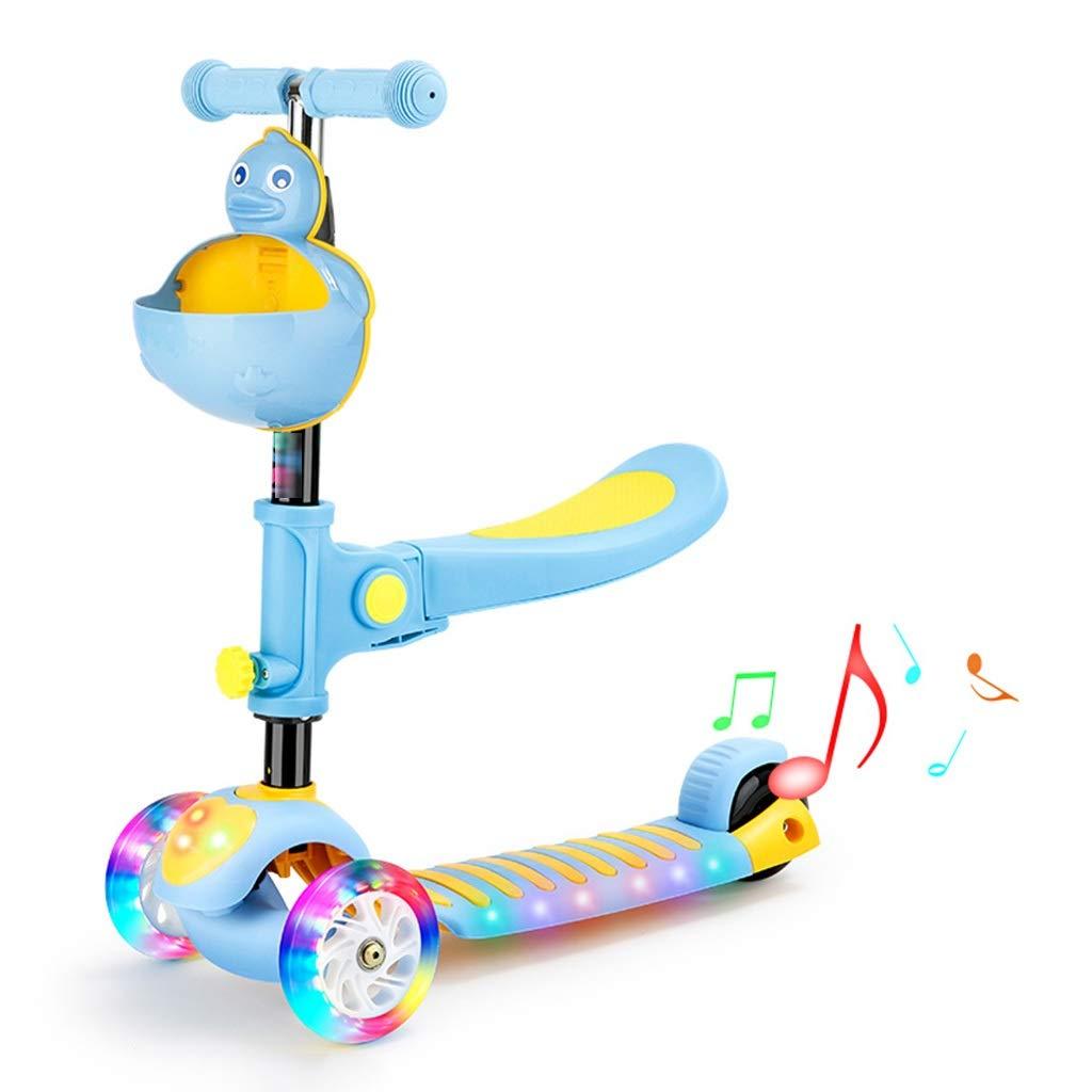 Blau 5725.581cm Roller DREI-in-einem-Roller Der Kinder Kann Mädchen-Jo-Jo- Jungen-Einbeinrutsche Kinderroller Blitzradroller, Musiklicht Sitzen (Farbe   Blau, Größe   57  25.5  81cm)