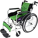 自走用車いす 車イス 車椅子 「ZEN-禅-ライト」(グリーン) 軽量 コンパクト 背折れ 折りたたみ ノーパンクタイヤ メーカー保証1年付き カドクラ G201-GR