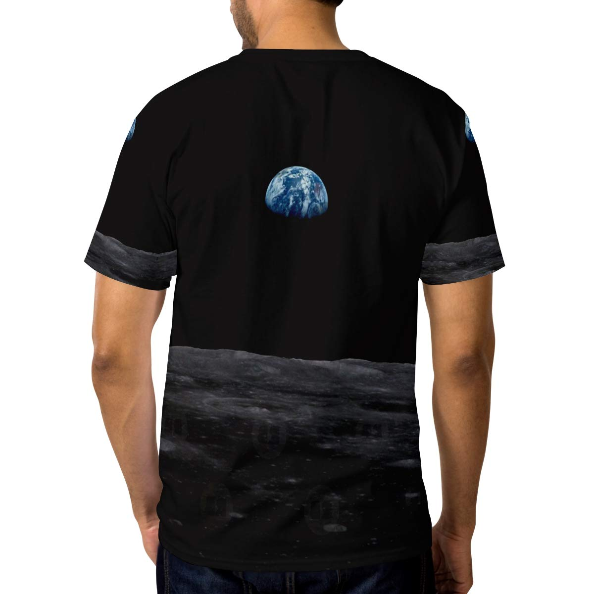 Horatiood Huberyyd Moon Universe Marble Mens T Shirts Graphic Funny Body Print Short T-Shirt Unisex Pullover Blouse