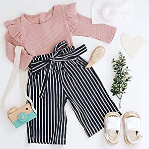 0-2Years,SO-buts Newborn Baby Girls Fall Winter Outfits Clothes Knitting Long Sleeve Romper Bodysuit+Stripe Long Pants…