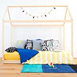 PAGUS - House Shaped Single Kid Bed Frame Twin Size - Natural Wood