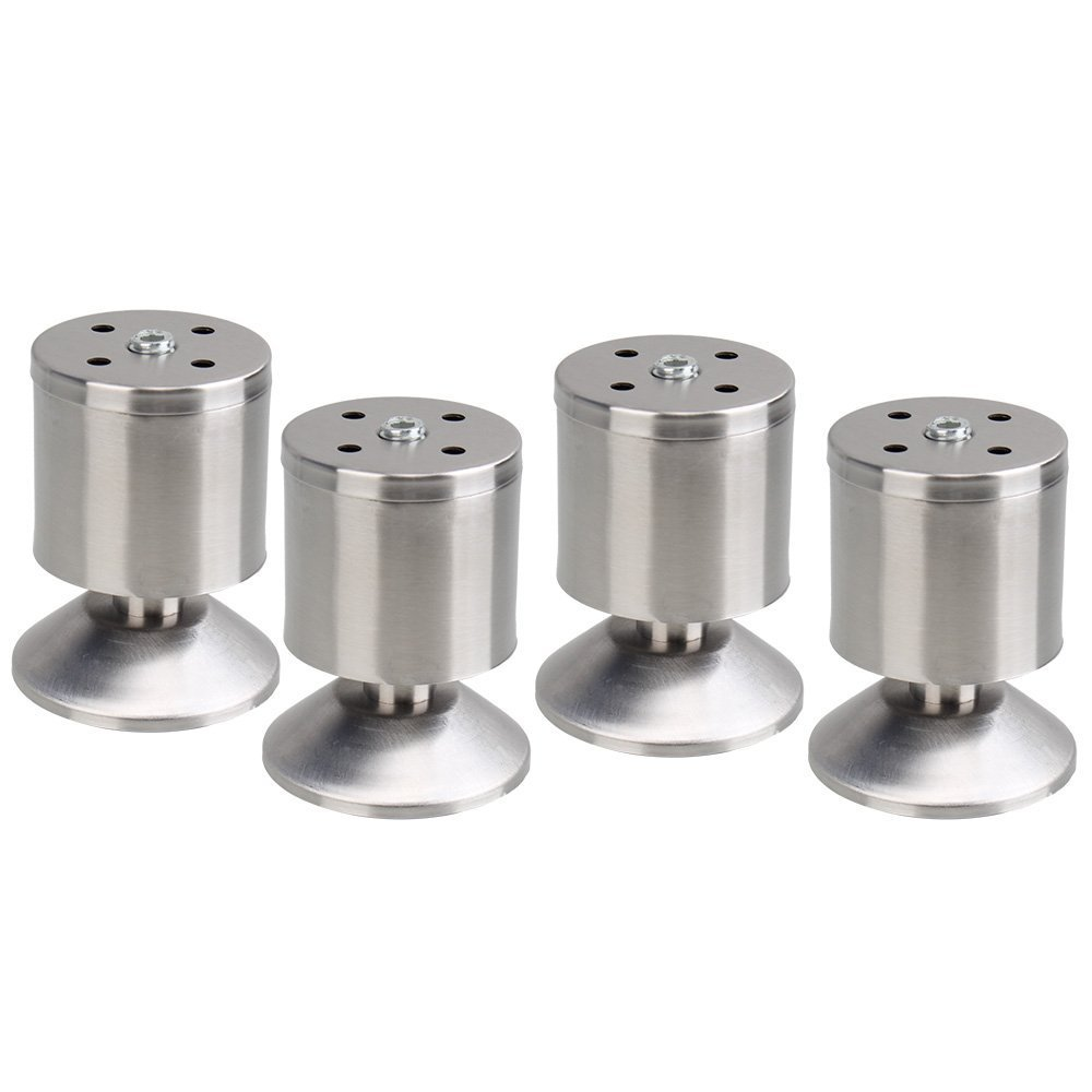 Furniture Leg,Ideaker 4pcs Stainless Steel Round Leg Protector Stand 8x5cm for Cabinet Table Bed Chair