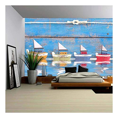 (wall26 - Shabby Toy Boats in a Row on a Wooden Blue Background - Concept for Cruising, Sailing, Holiday - Removable Wall Mural | Self-Adhesive Large Wallpaper - 100x144 inches)