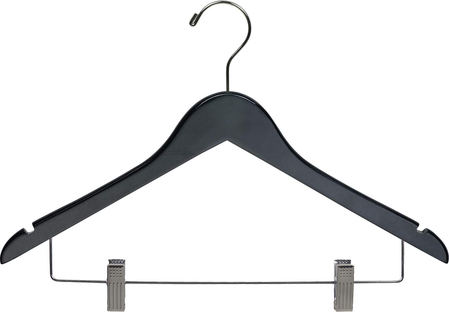 Black Wooden Combo Hanger with Adjustable Cushion Clips (Box of 100) by The Great American Hanger Company