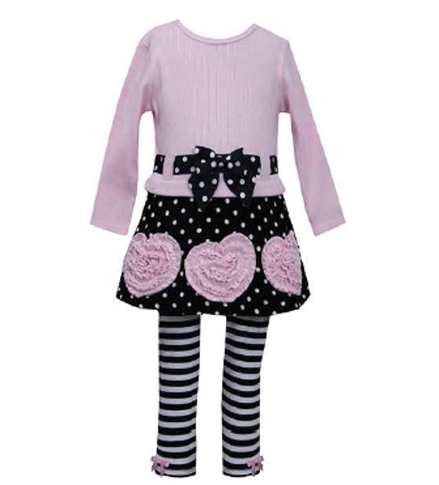 Bonnie Jean Polka Dot Skirt Ruched Heart Legging Set with Bracelet for Mom
