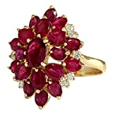 604-Carat-Natural-Red-Ruby-And-Diamond-Cluster-Ring-14K-Solid-Yellow-Gold
