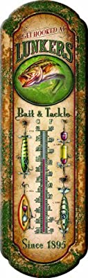 "River's Edge 1291""Lunkers Bait and Tackle"" Nostalgic Tin Thermometer"