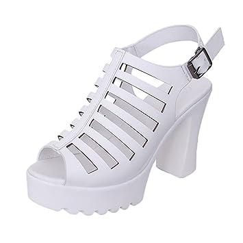 b1c607dee5 Sandali da Spiaggia Donne,Yesmile Rough Hollow scarpe romane Sandali  impermeabile scarpe con tacco alto-dita aperte Sandali da Donna,Scarpe da  Sposa Tacco ...