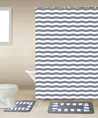 GorgeousHome New Designs 15PC Printed Banded Bathroom Rug Bath Mats Set With Fabric Matching Shower Curtain & Hooks (STRIPED GREY) (Matching Bathroom Accessories Sets)