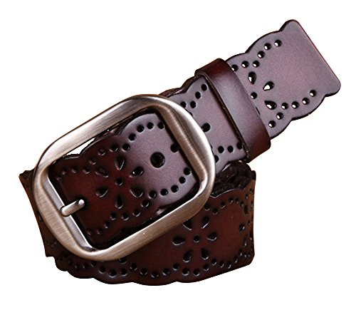 NormCorer Women's Hollow Out Genuine Leather Alloy Buckle Belt for Jeans (45.28