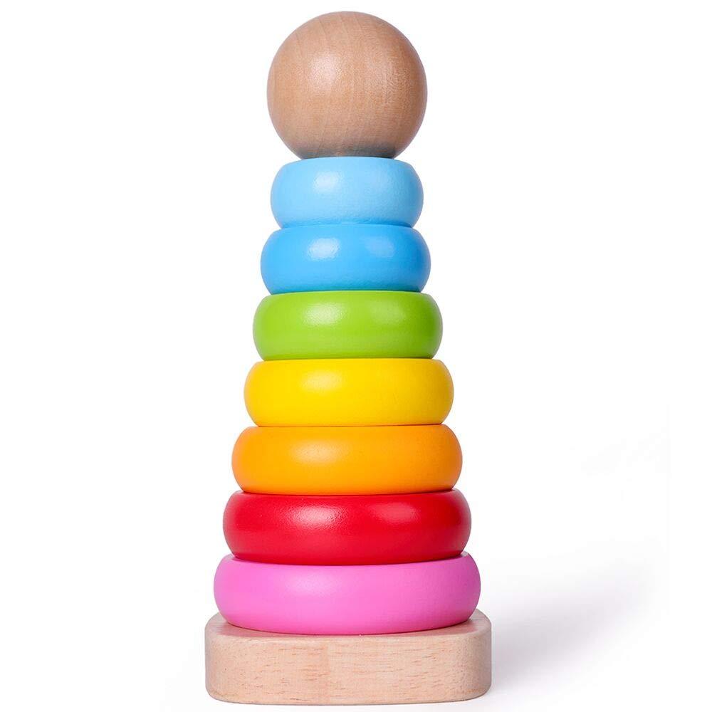 Steckturm Ringpyramide Farbenfroh mit 7-teilig Ringe Holzknopf Stapelspiel Motorikspielzeug f/ür Baby ab 12 Monaten Rolimate Stapelturm Holz
