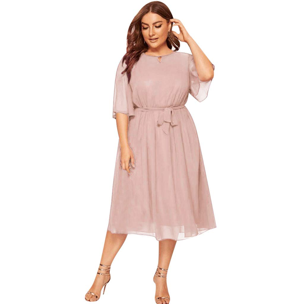 4Clovers Womens Plus Size Casual Dresses Summer Chiffon Half Sleeve Loose Knee Length Party Dress