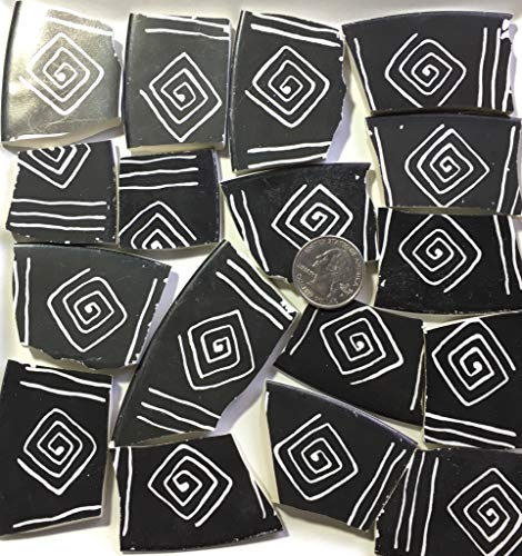 Mosaic Art & Craft Supply ~ Large Black & White Abstract Graphic Tiles (B021)