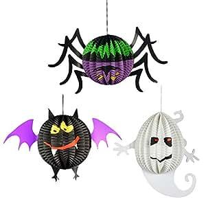 3Pcs 3D Small Spherical Ghost Bats Spider Pumpkins Hanging Pendant Halloween Lanterns