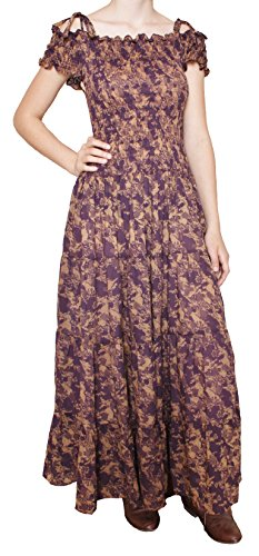 Purple Print Peasant Dress - ML Size #215677