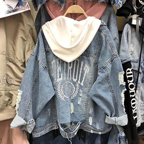 Di Bianca fashion Giacche Primavera Hoodie E Jeans Giovane Autunno Cappotto Giacca Jacket Cappuccio Cime Coat Con Casual Moda Lunga Denim Manica Giubbotto Donna Tops Simple Outerwear f4wZ4