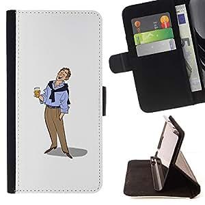 Momo Phone Case / Flip Funda de Cuero Case Cover - Hombre de la cerveza Arte Dibujo vacaciones relajadas - Apple Iphone 5 / 5S