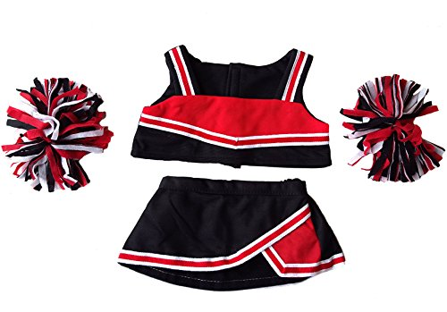 """Red & Black Cheerleader Outfit Teddy Bear Clothes Fits Most 14"""" - 18"""" Build-A-Bear and Make Your Stuffed Animals from Stuffems Toy Shop"""
