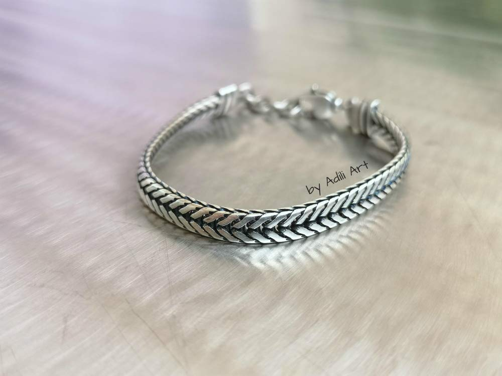 925 Silver Plated Mens Chain Bracelet for wrist size approx 7.5