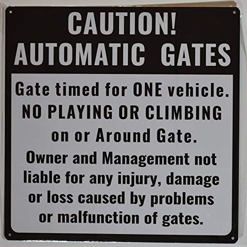 Caution Automatic Gates Sign (White, Rust Free Aluminium 18X18)