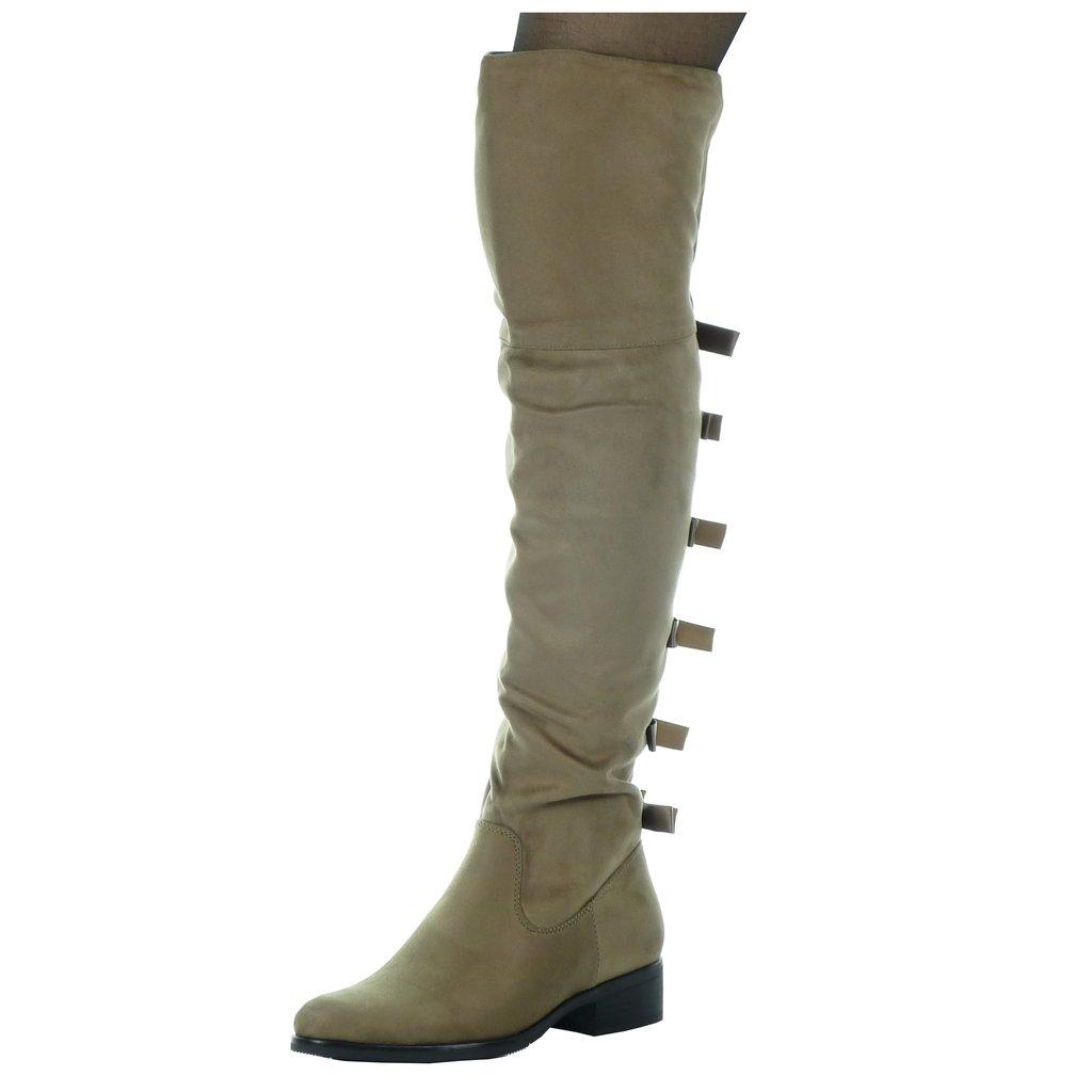 Angkorly - Zapatillas de Moda Botas Altas cavalier flexible mujer nodo Talón Tacón ancho alto 3.5 CM - plantilla Forrada de Piel38 EU|Caqui