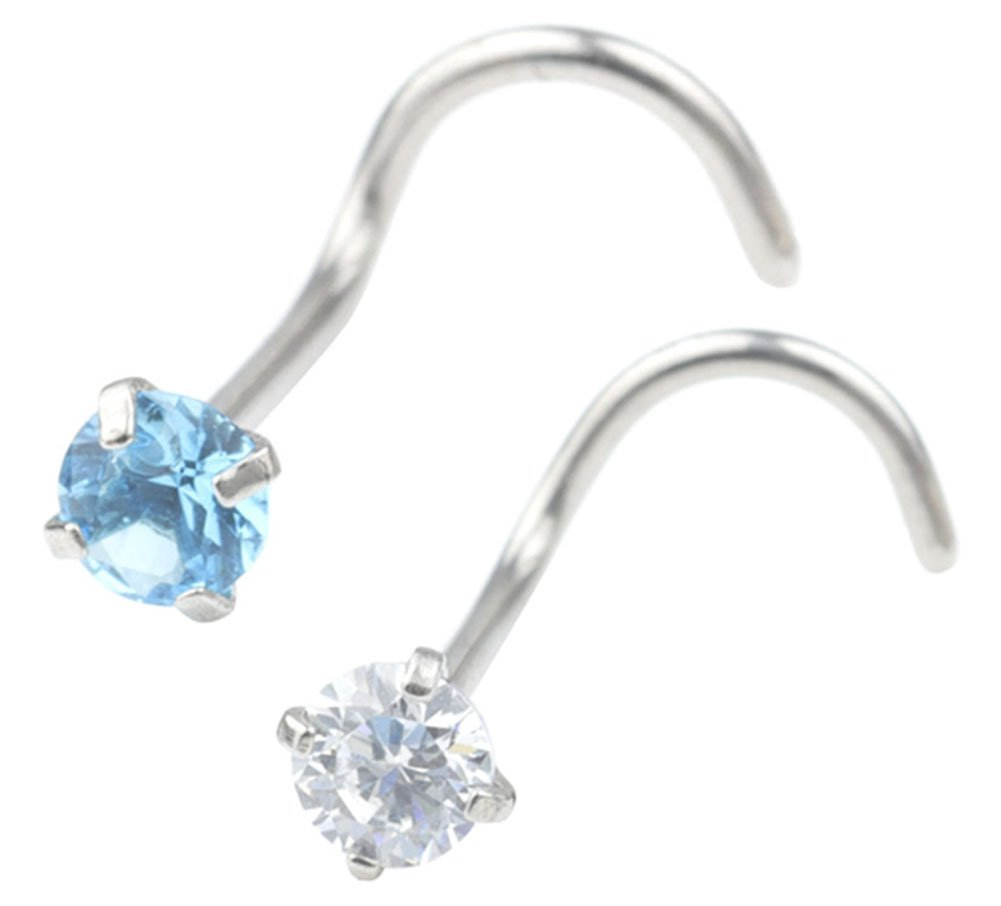 Dress-up yourself DU 2Pcs 20G 3mm Clear Round Jeweled Clear Diamond Cz Nose Screw Studs Rings Piercing Jewelry